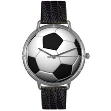 <strong>Whimsical Watches</strong> Unisex Soccer Lover Photo Watch with Black Leather