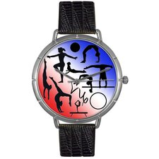 Unisex Gymnastics Lover Photo Watch with Black Leather