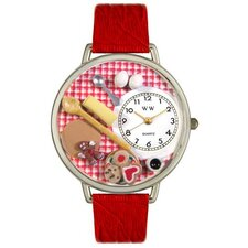 <strong>Whimsical Watches</strong> Unisex Baking Red Leather and Silvertone Watch in Silver