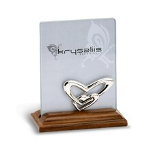 Double Heart Sterling Silver and Wood Picture Frame