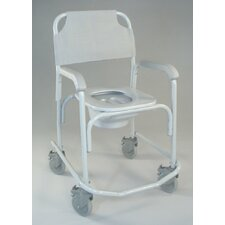 Shower Chair Elongated Seat Commode in Dove Gray