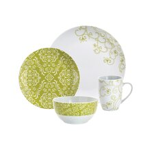 Curly-Q Green 16-Piece Dinnerware Set