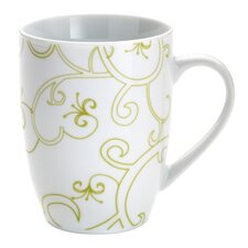 Curly-Q Green 11 oz. Mugs: Set of (4)