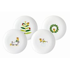 "Holiday Hoot 9.5"" Dessert Plate (Set of 4)"