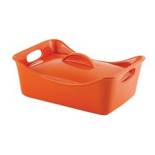Stoneware 3.5-Quart Covered Rectangle Casserole Pan
