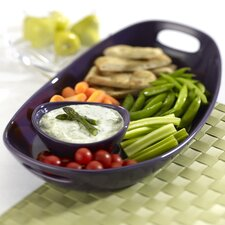 Stoneware Chip and Dip Tray