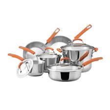 Stainless Steel 10-Piece Set Cookware Set with Orange Handles