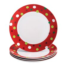"Hoot's Decorated Tree 11.8"" Dinner Plate (Set of 4)"