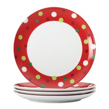 "Hoot's Decorated Tree 9.4"" Salad Plate (Set of 4)"