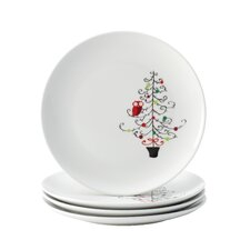 "<strong>Rachael Ray</strong> Hoot's Decorated Tree 9.4"" Salad Plate (Set of 4)"