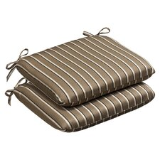Outdoor Rounded Sunbrella Fabric Seat Cushion (Set of 2)