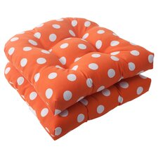 Polka Dot Wicker Seat Cushion (Set of 2)