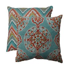 Mirage and Chevron Polyester Throw Pillow (Set of 2)