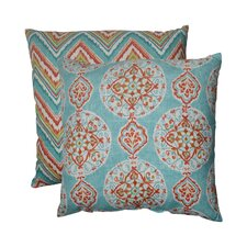 Mirage and Chevron Polyester Floor Pillow (Set of 2)