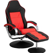 Racer Red and Black Recliner and Ottoman
