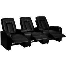 Leather 3-Seat Home Theater Recliner with Storage Consoles