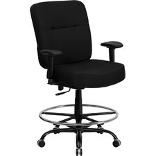 Hercules Series Drafting Stool with Arms and Extra-Wide Seat