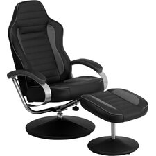 Racing Style Vinyl Recliner and Ottoman