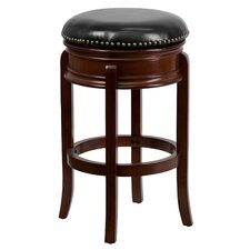 29'' Backless Wood Bar Stool with Leather Swivel Seat