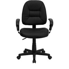 Ergonomic Mid-Back Task Leather Office Chair with Arms