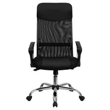 Personalized High-Back Split Leather Chair with Mesh Back