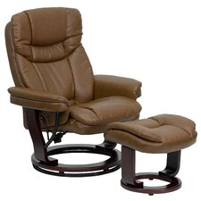 Contemporary Leather Recliner and Ottoman II