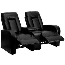 Leather 2-Seat Home Theater Recliner with Storage Console