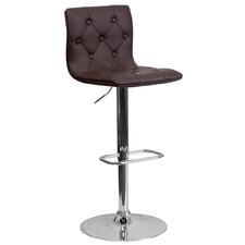 Contemporary Tufted Vinyl Adjustable Height Bar Stool