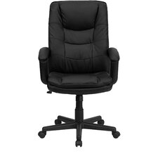 High-Back Leather Executive Chair with Double Padded Cushions