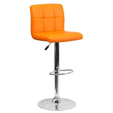 Contemporary Quilted Vinyl Adjustable Height Bar Stool