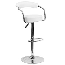 Contemporary Vinyl Adjustable Height Bar Stool with Arms