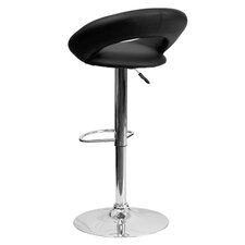 Contemporary Vinyl Adjustable Height Rounded Back Bar Stool