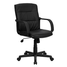 Mid Back Leather Task Chair with Nylon Arms
