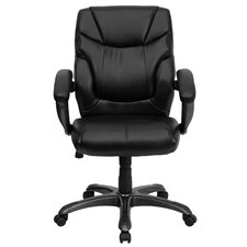Personalized Mid-Back Leather Overstuffed Office Chair