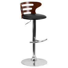 Walnut Bentwood Adjustable Height Bar Stool with Vinyl Seat and Cutout Back