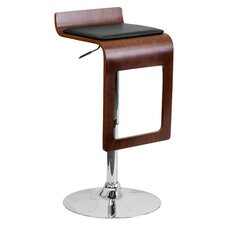 Walnut Bentwood Adjustable Height Barstool with Vinyl Seat