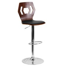 Walnut Bentwood Adjustable Bar Stool with Vinyl Seat