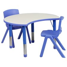 Height Adjustable Cutout Circle Activity Table with 2 School Stack Chairs