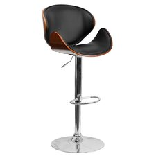 Walnut Bentwood Adjustable Bar Stool with Curved Vinyl Seat