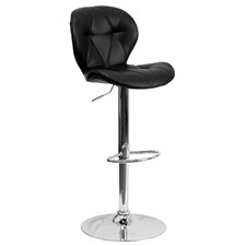 Contemporary Vinyl Adjustable Height Tufted Bar Stool