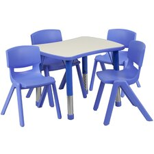 "Adjustable 21.88"" W x 26.63"" D Rectangular Activity Table with 4 School Stack Chairs"