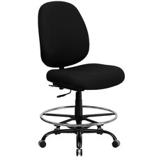 Height Adjustable Hercules Series Big and Tall Fabric Drafting Stool with Extra Wide Seat