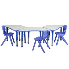 Trapezoid Activity Table Configuration with 3 School Stack Chairs
