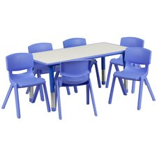 Adjustable Rectangular Activity Table with 6 School Stack Chairs