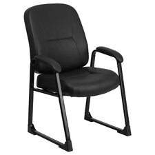 Hercules Series Leather Executive Side Chair with Sled Base