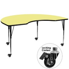 Mobile Kidney Shaped Activity Table with Thermal Fused Top and Height Adjustable Legs