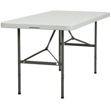 Plastic Bi-Folding Table in Granite White