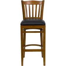 Hercules Series Vertical Slat Back Wooden Restaurant Bar Stool