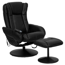 <strong>Flash Furniture</strong> Leather Heated Reclining Massage Chair and Ottoman
