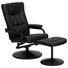 Contemporary Soft Leather Reclining Office Chair & Ottoman Set